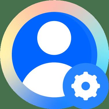 Benutzerprofilbild mit Symbol für Einstellungen