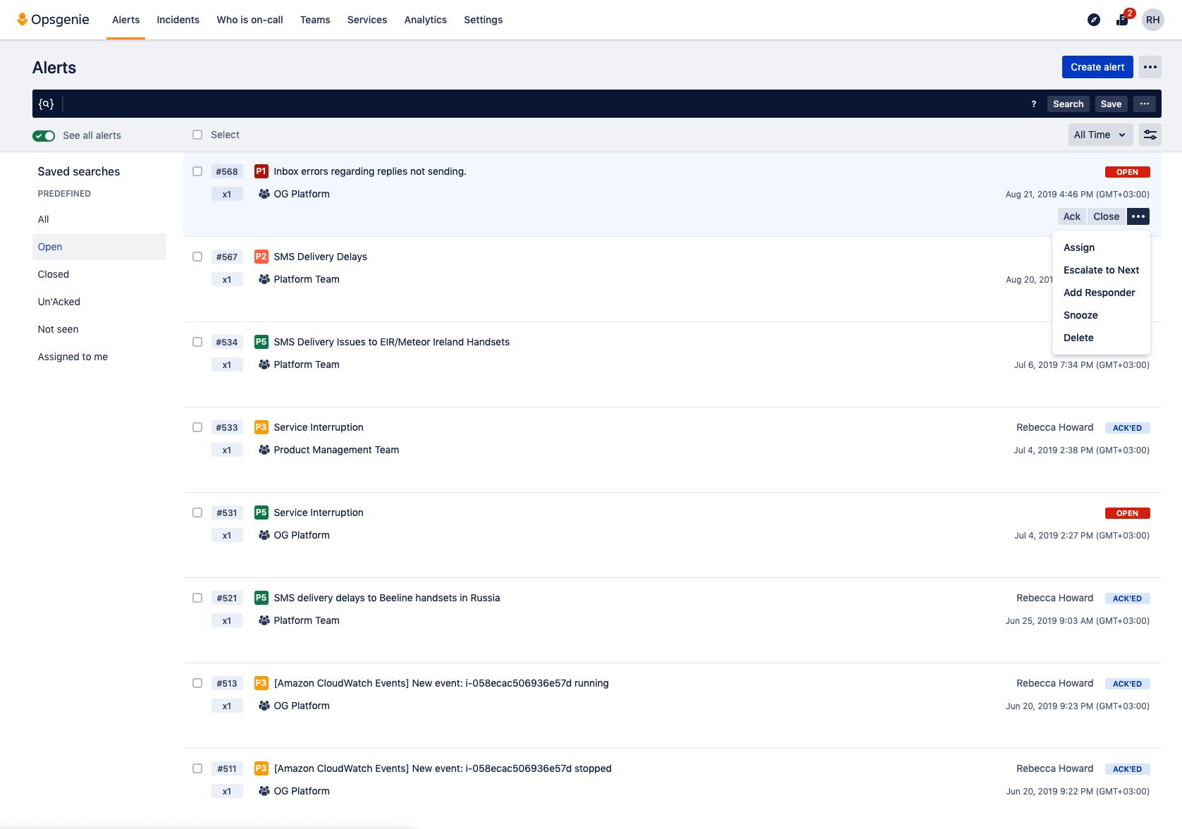 Screenshot of assigning alerts