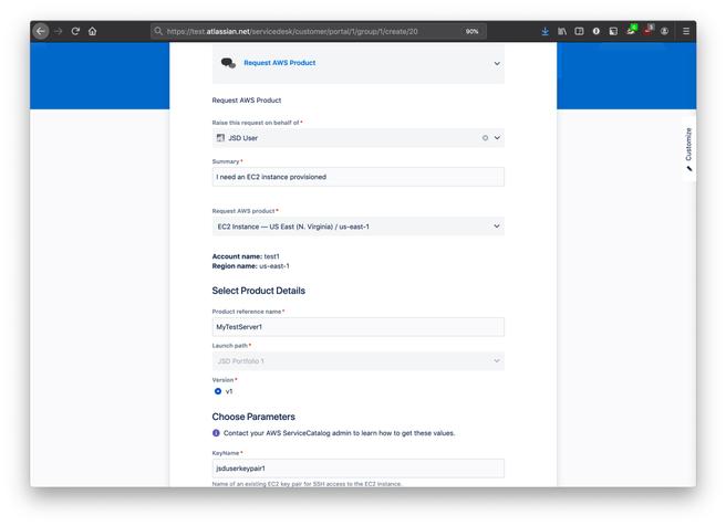 Jira Service Desk AWS Service Catalog Connector screenshot