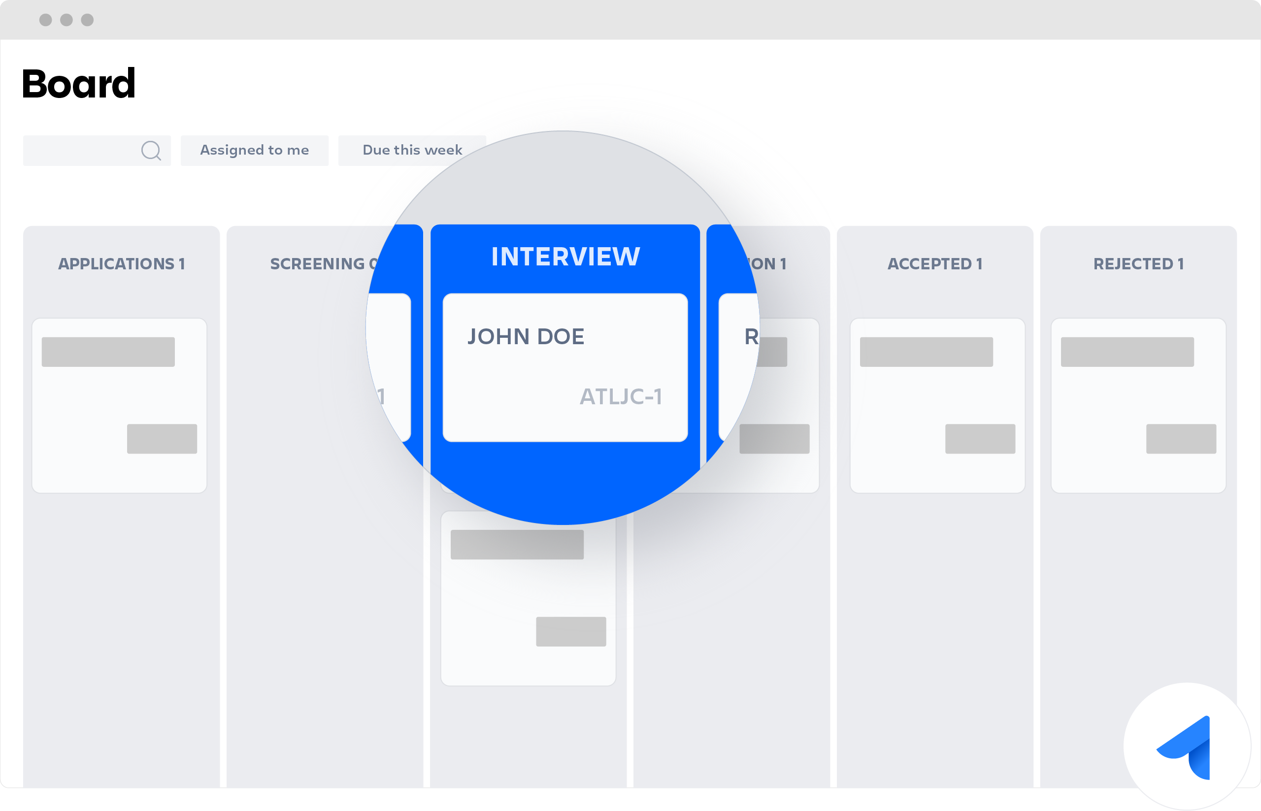 Jira Core board with Interview lane