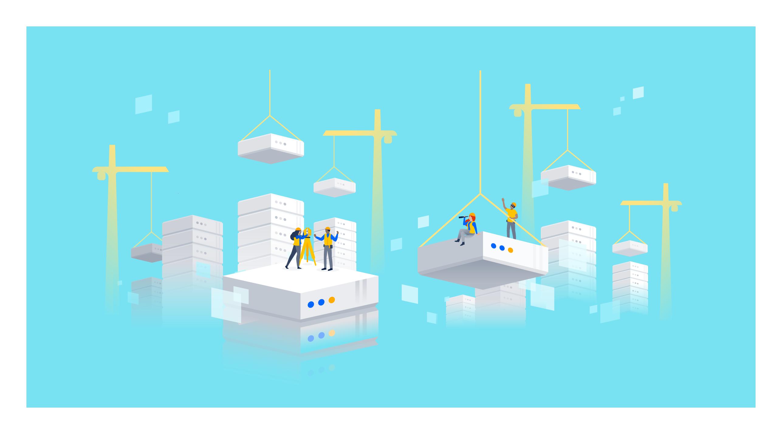 Illustration montrant un chantier de construction avec des blocs JiraServer