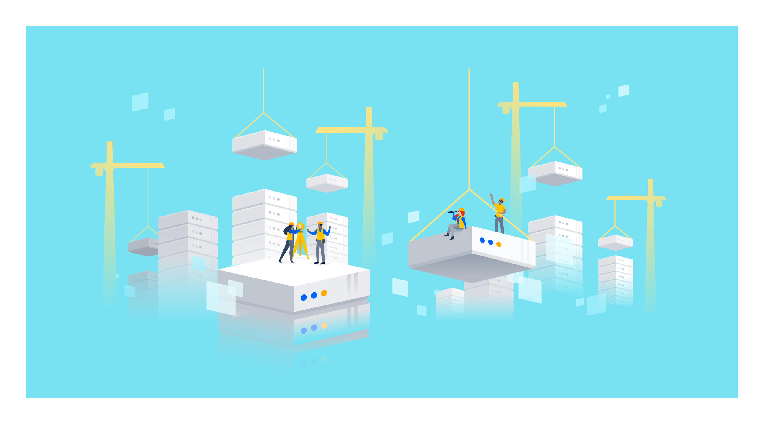 Construction site with jira server blocks illustration
