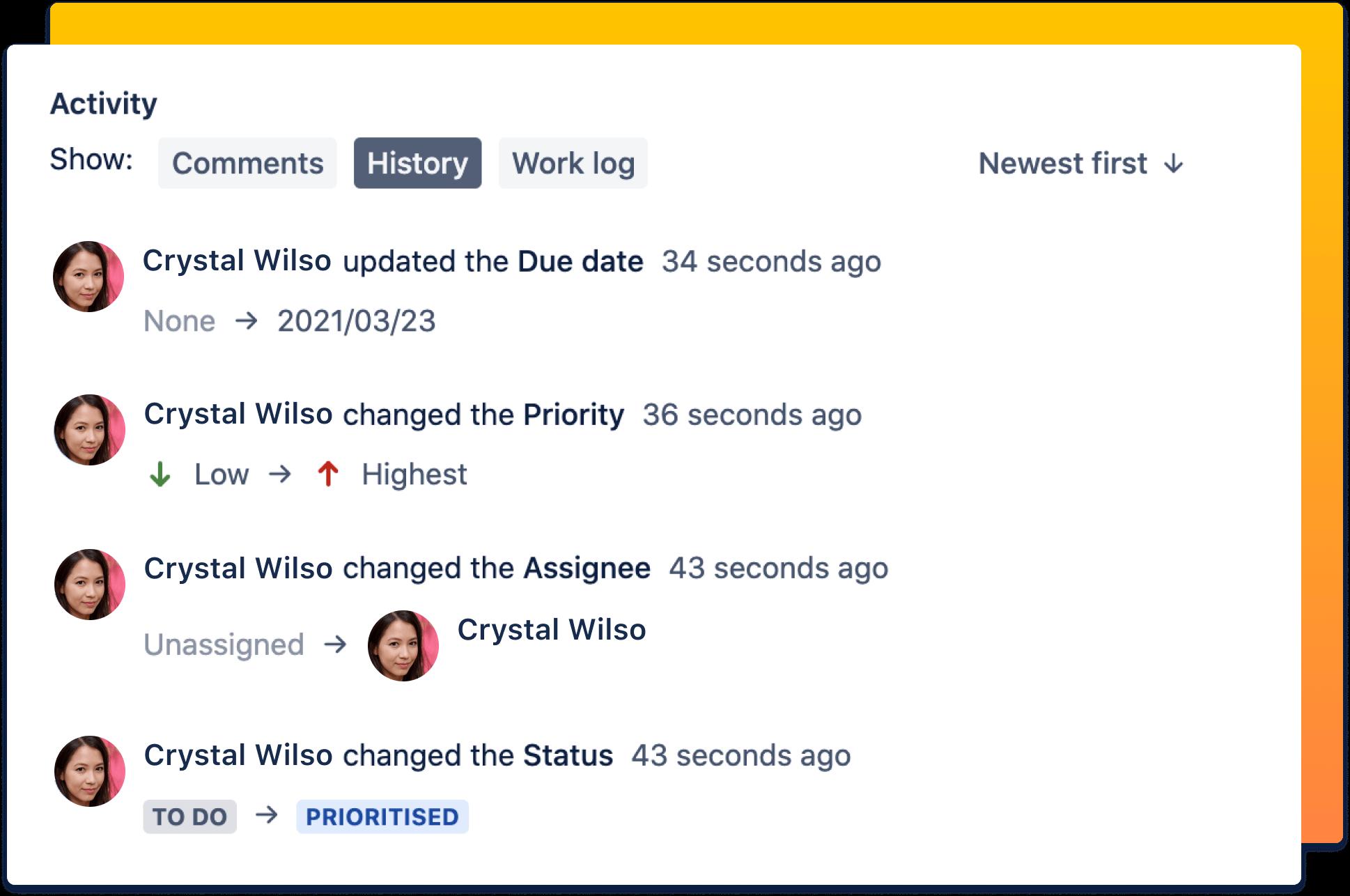 Captura de pantalla de una auditoría de procesos y tareas