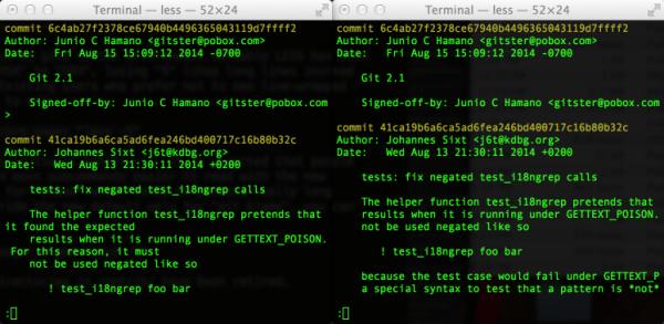 Styles des pagers dans Git2.1.0 et 2.0.3