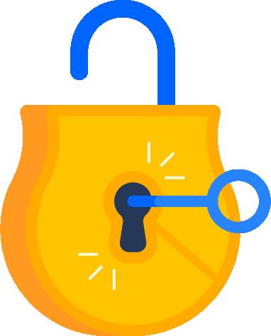 Ilustracja otwartej kłódki z kluczem