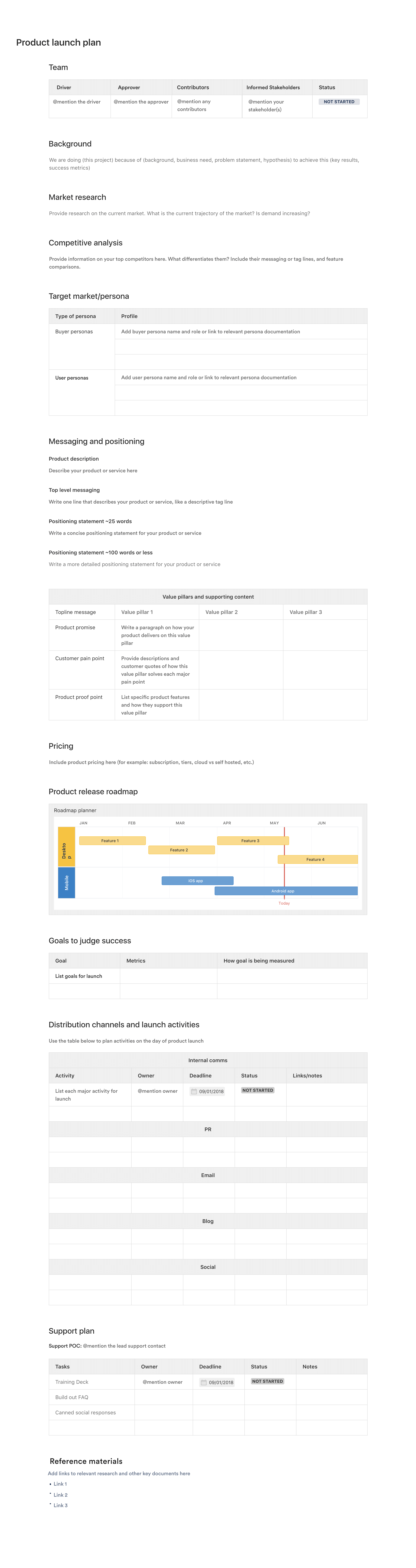 Product launch plan template - Confluence   Atlassian