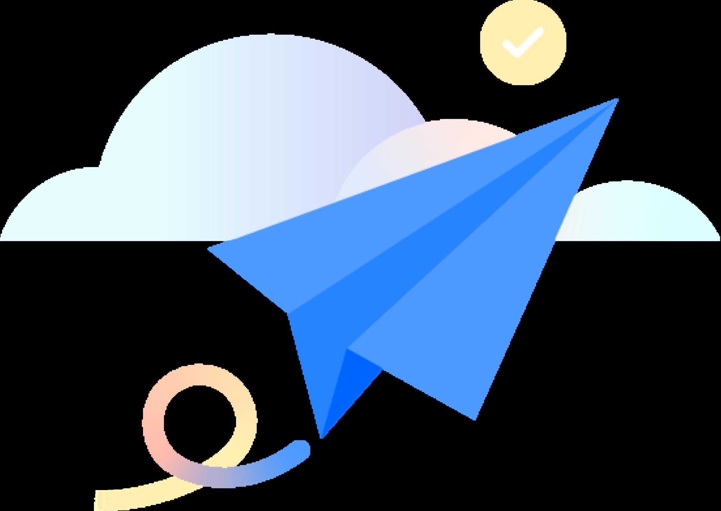 Un avión de papel entre las nubes
