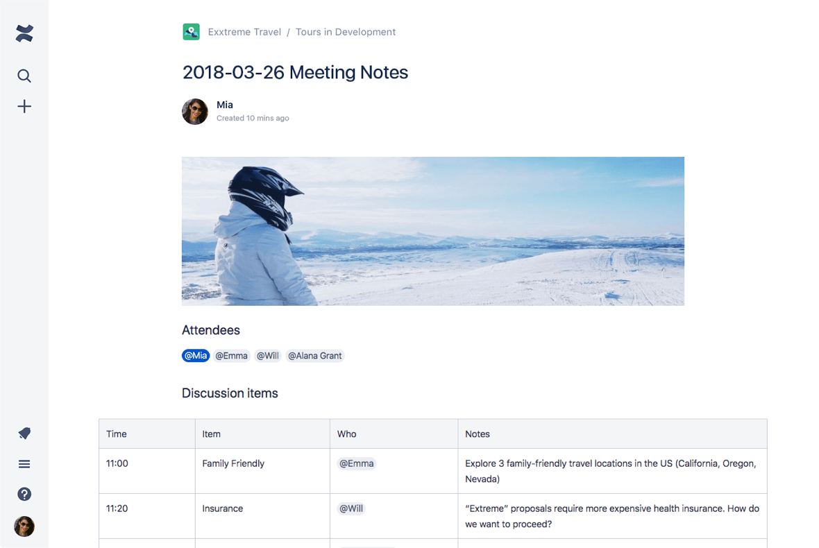 Screenshot of Confluence page