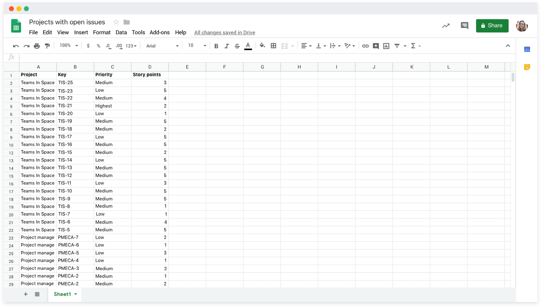 Build custom reports with Jira data in Google Sheets