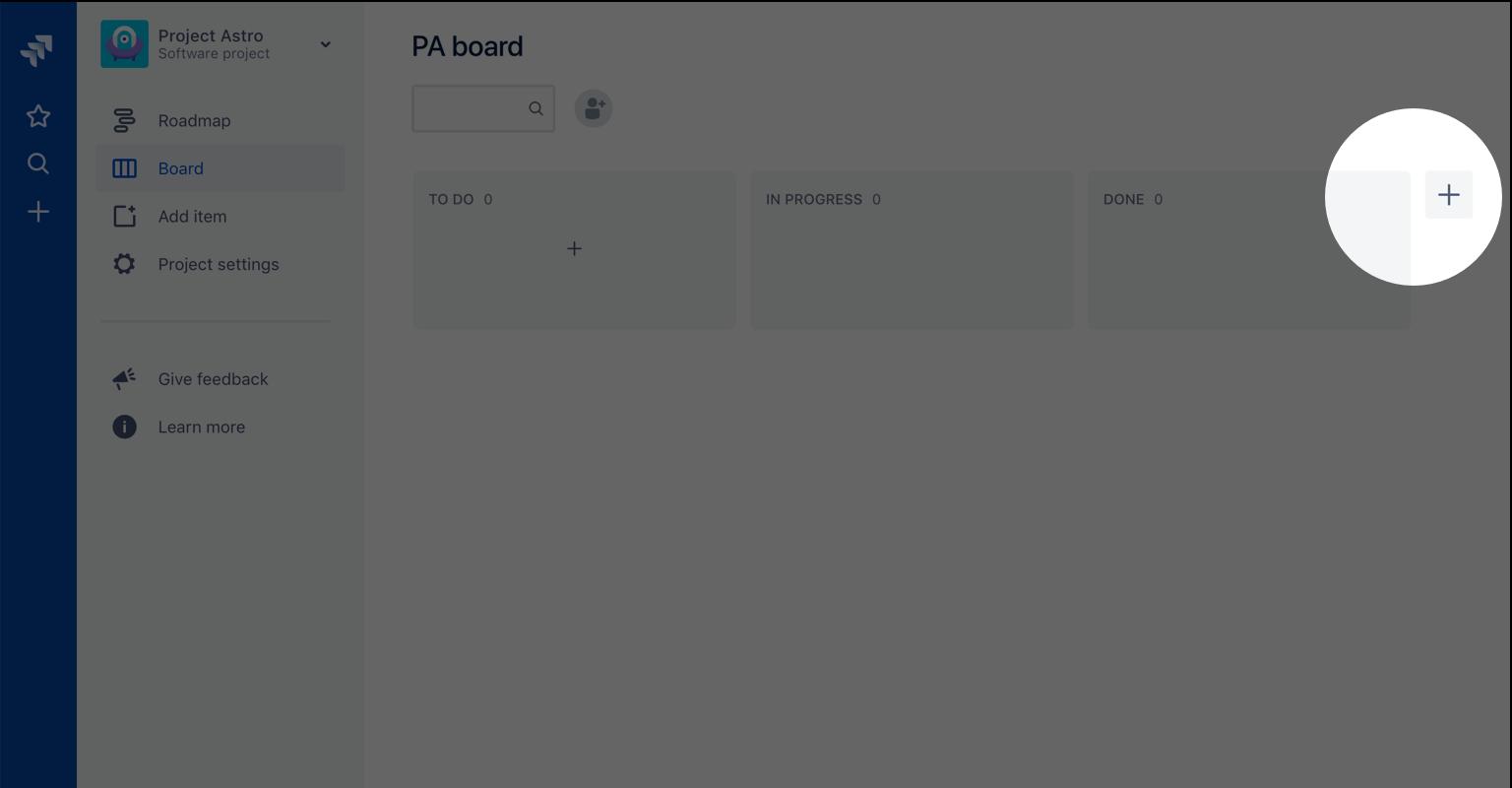Captura de pantalla que resalta el botón de nueva columna