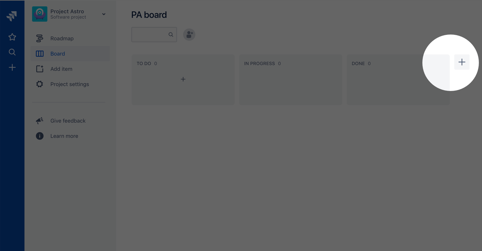Captura de tela do botão Nova coluna