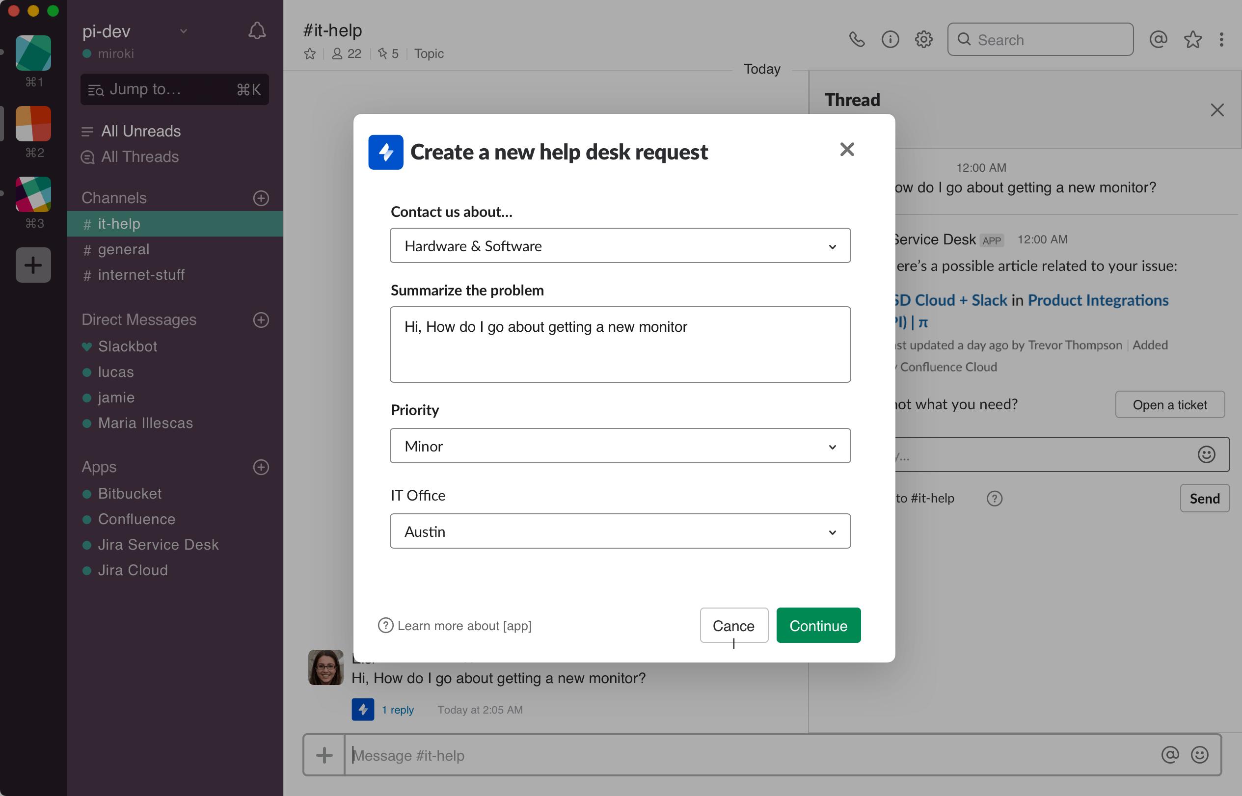 Jira Service Desk Slack integration screenshot