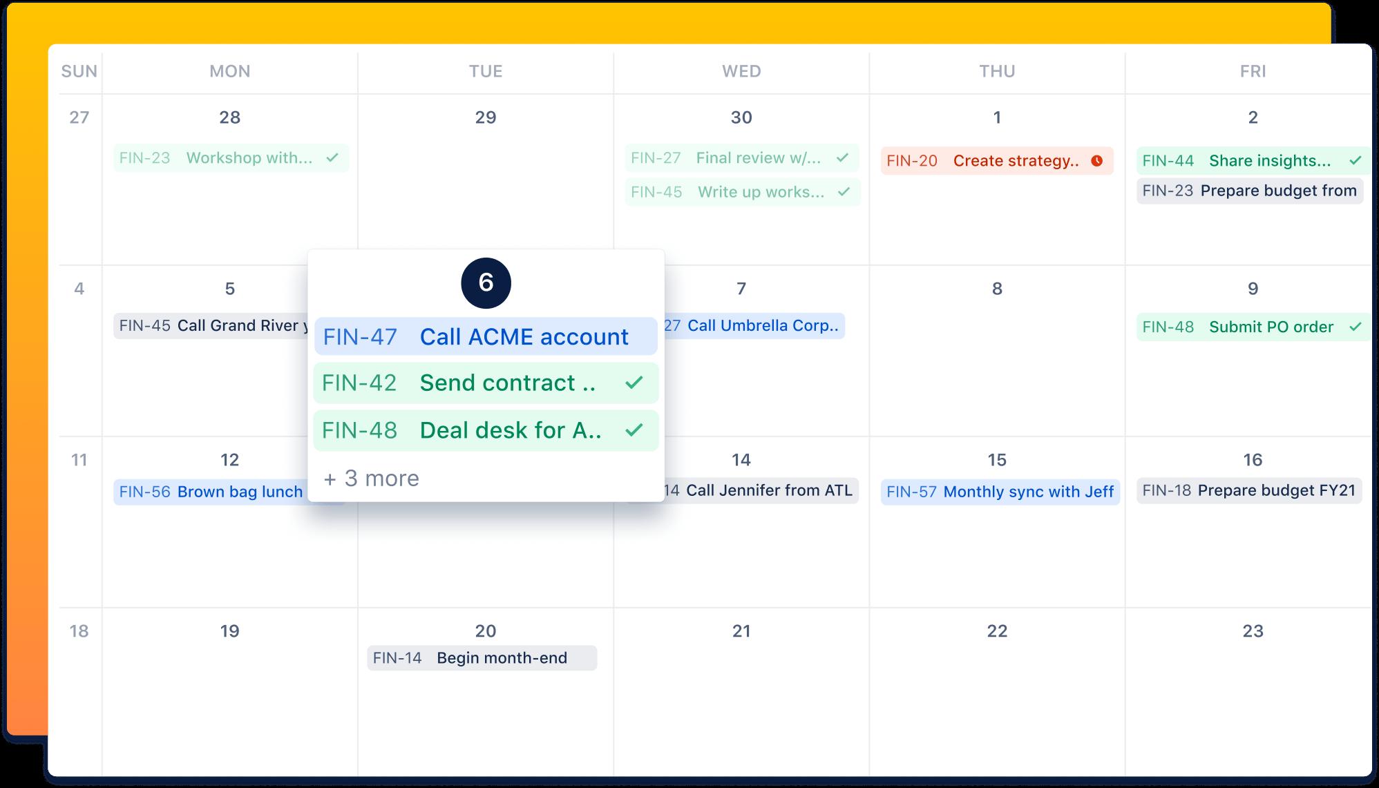 Zrzut ekranu kalendarza