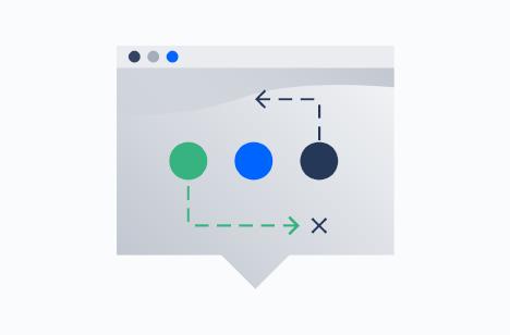 Browser mit Formen und Pfeilen
