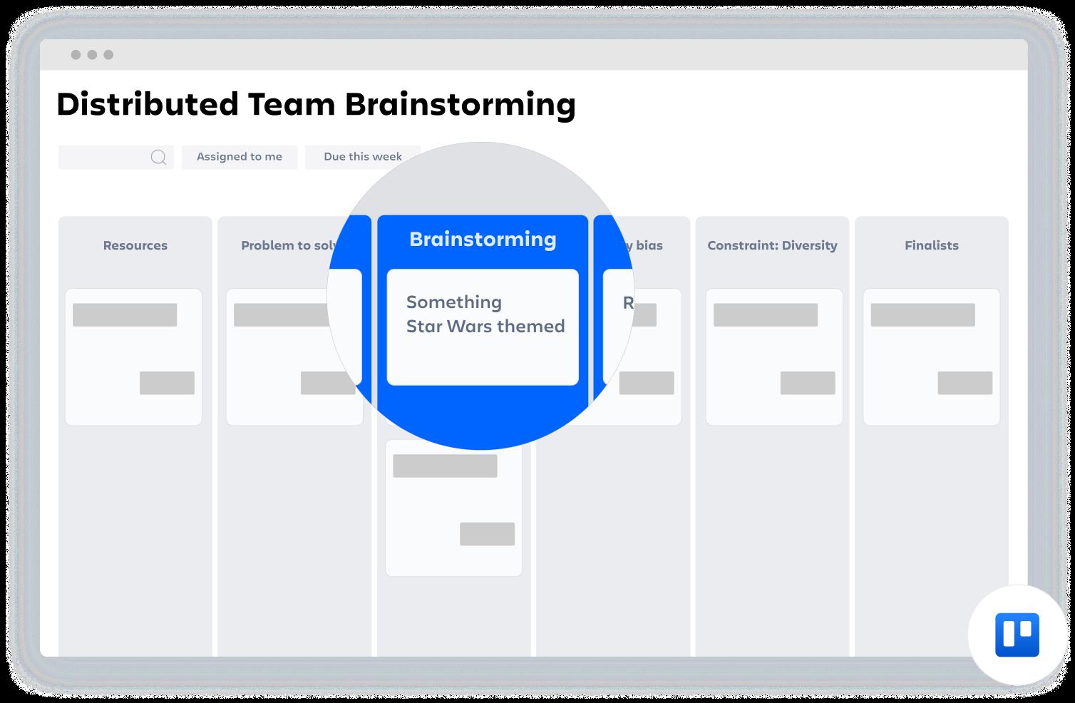 Confluence-Vorlage: Brainstorming für verteilte Teams