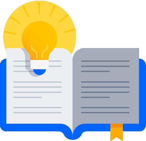Livro aberto com lâmpada