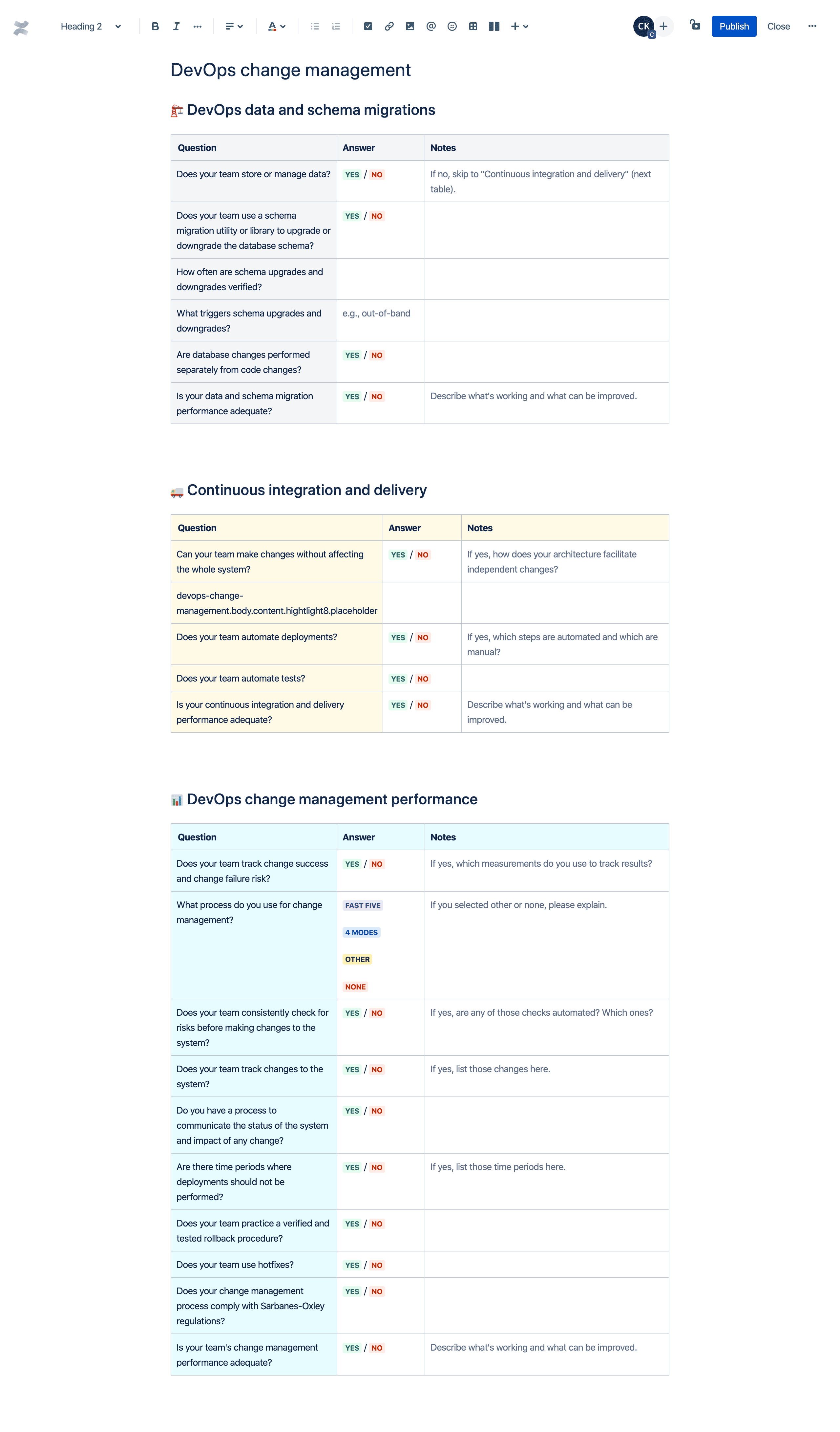 DevOps change management template