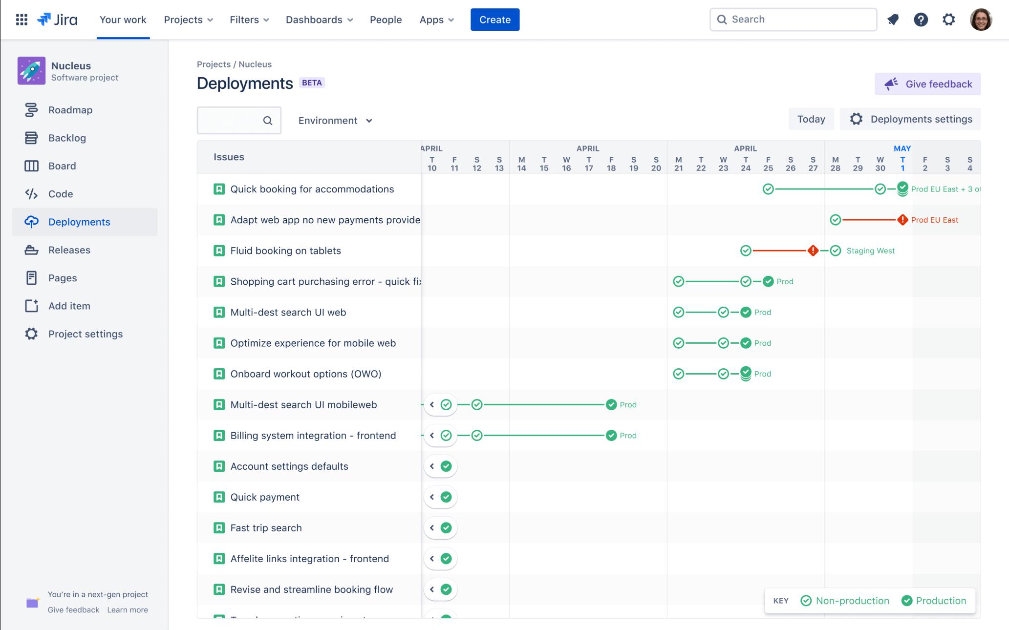 Captura de pantalla de implementación continua en Jira