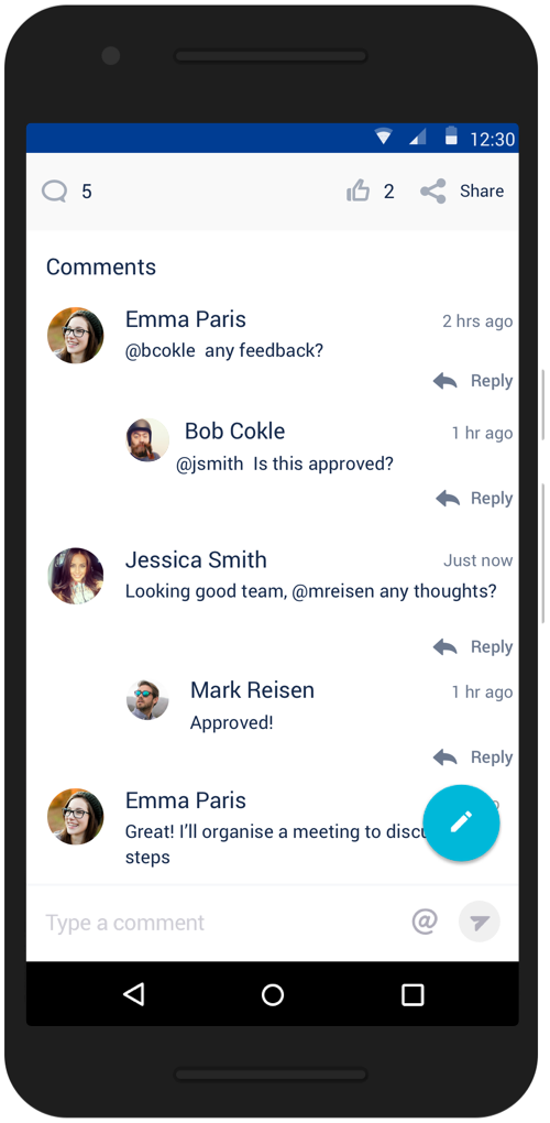 Mobile phone with chat messages regarding feedback and approval