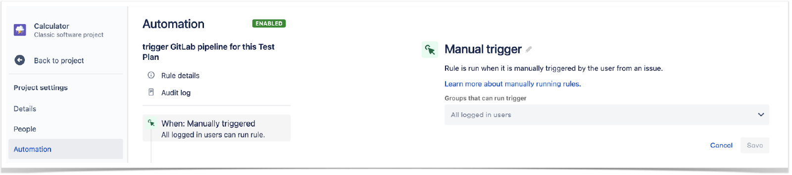 Create a new rule in Jira settings, under Automation