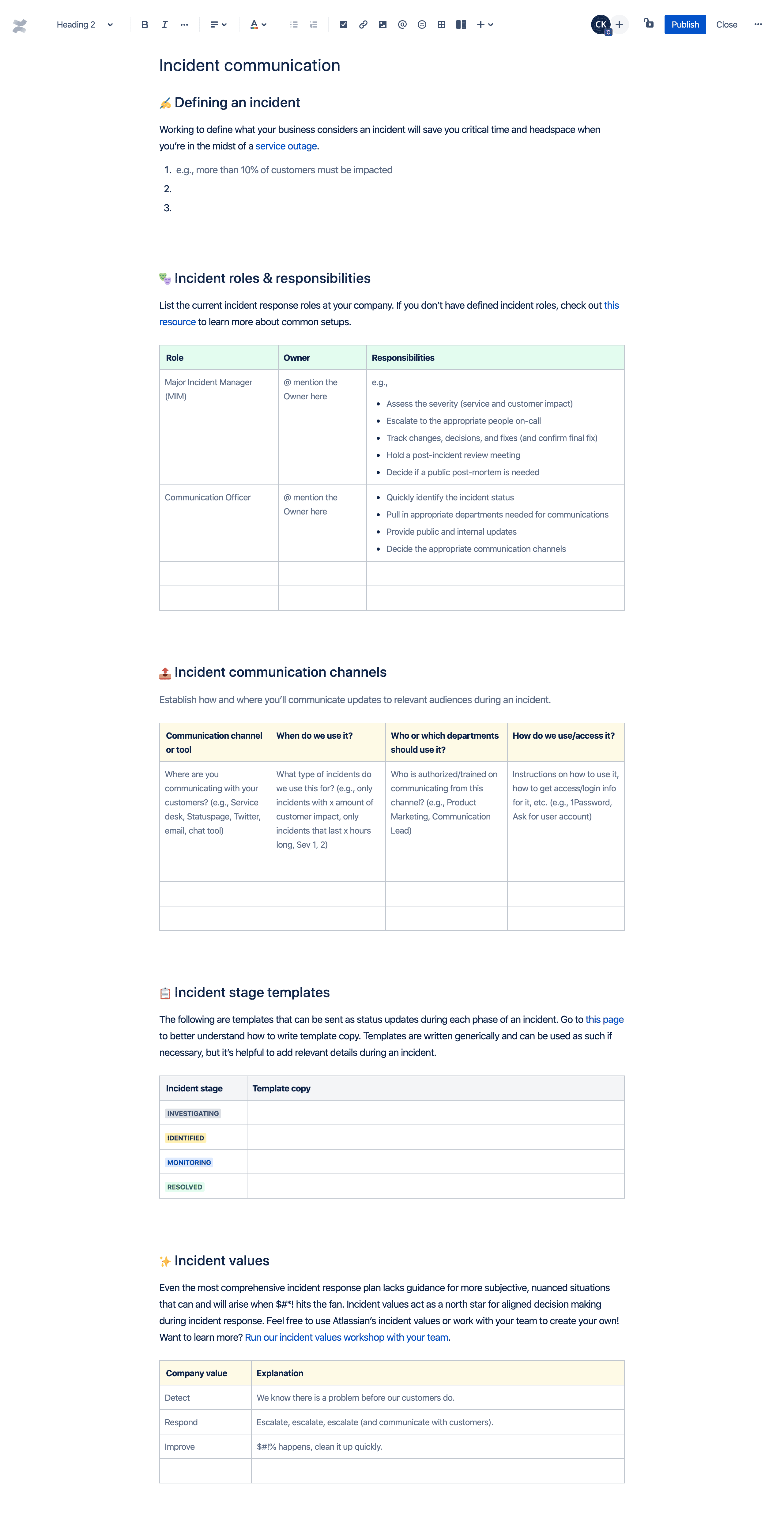 Incident communication template