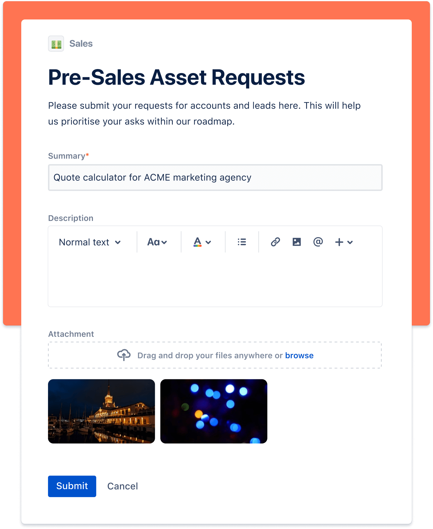 Pre-sales asset request screenshot