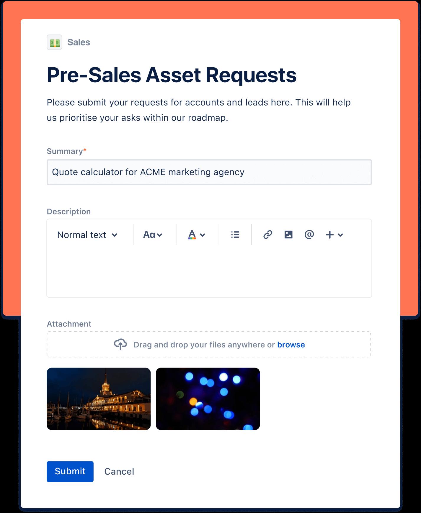 Pre-sales asset request screenshot