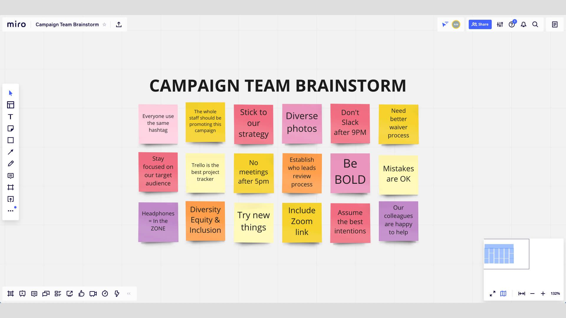 Brainstorming mit Notizzetteln