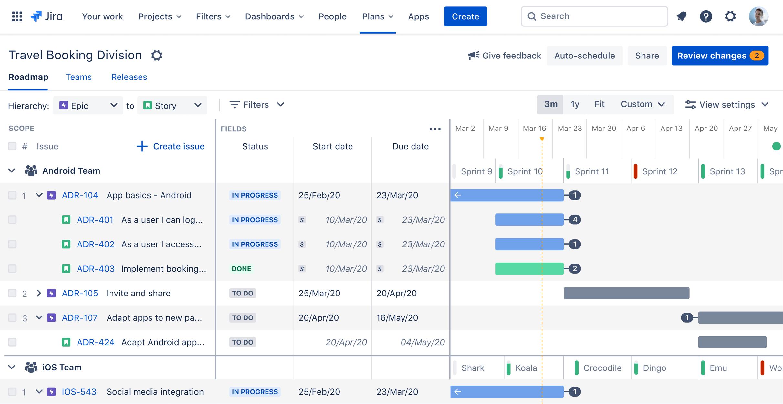Captura de tela do Advanced Roadmaps