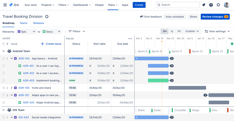 Screenshot van Advanced Roadmaps