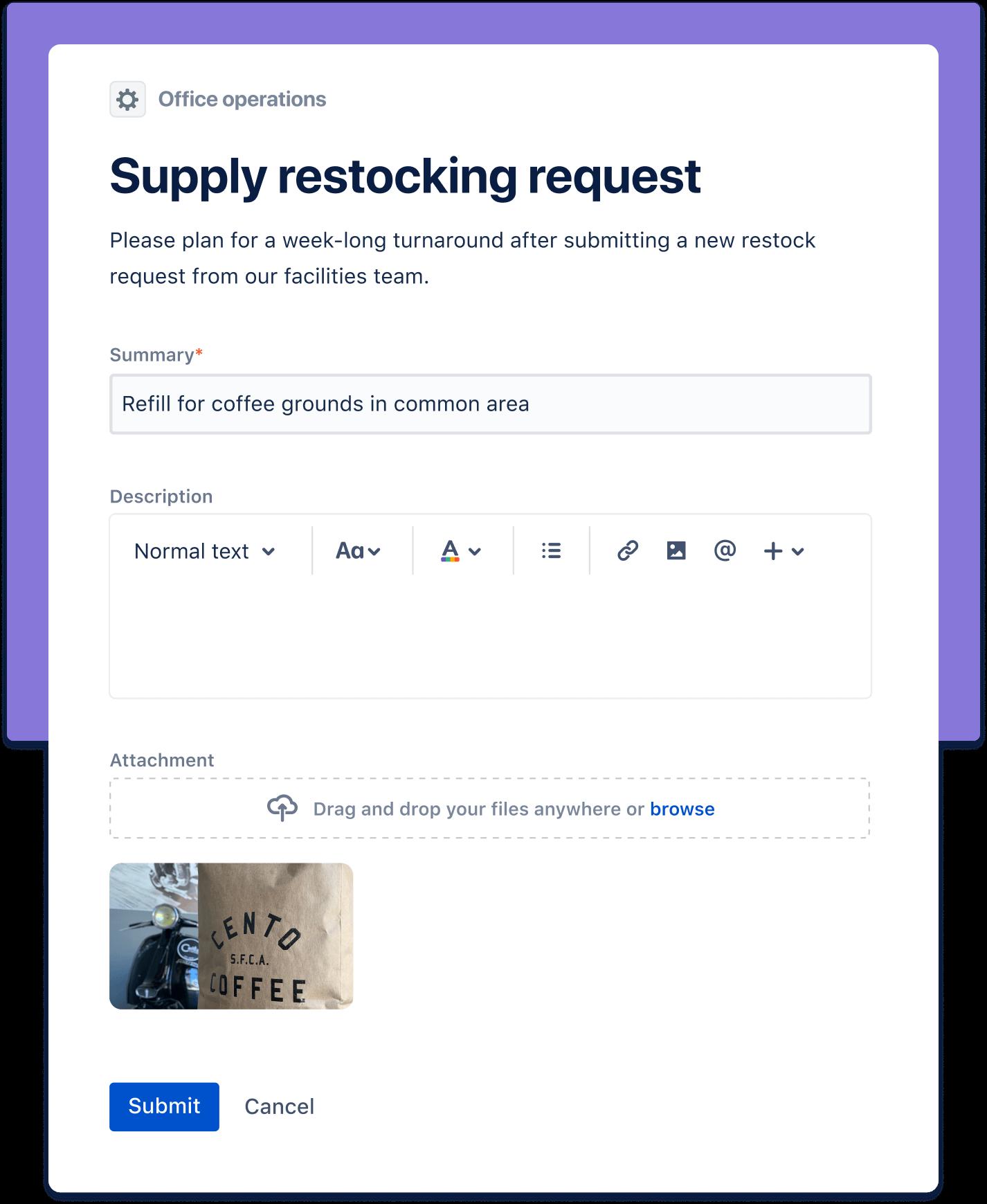 Captura de tela de solicitação de reabastecimento de suprimentos