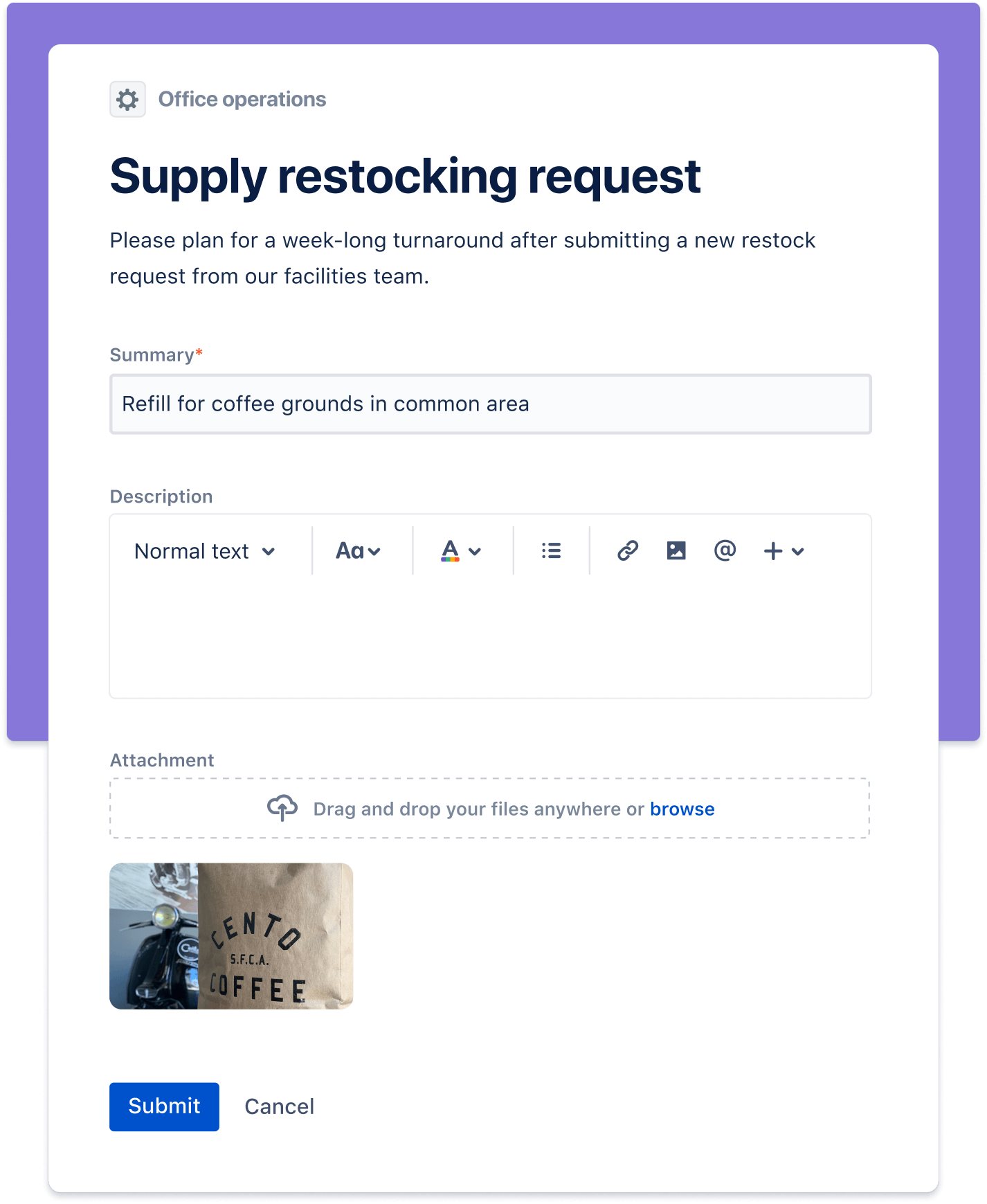 Captura de pantalla de una solicitud de reabastecimiento de materiales