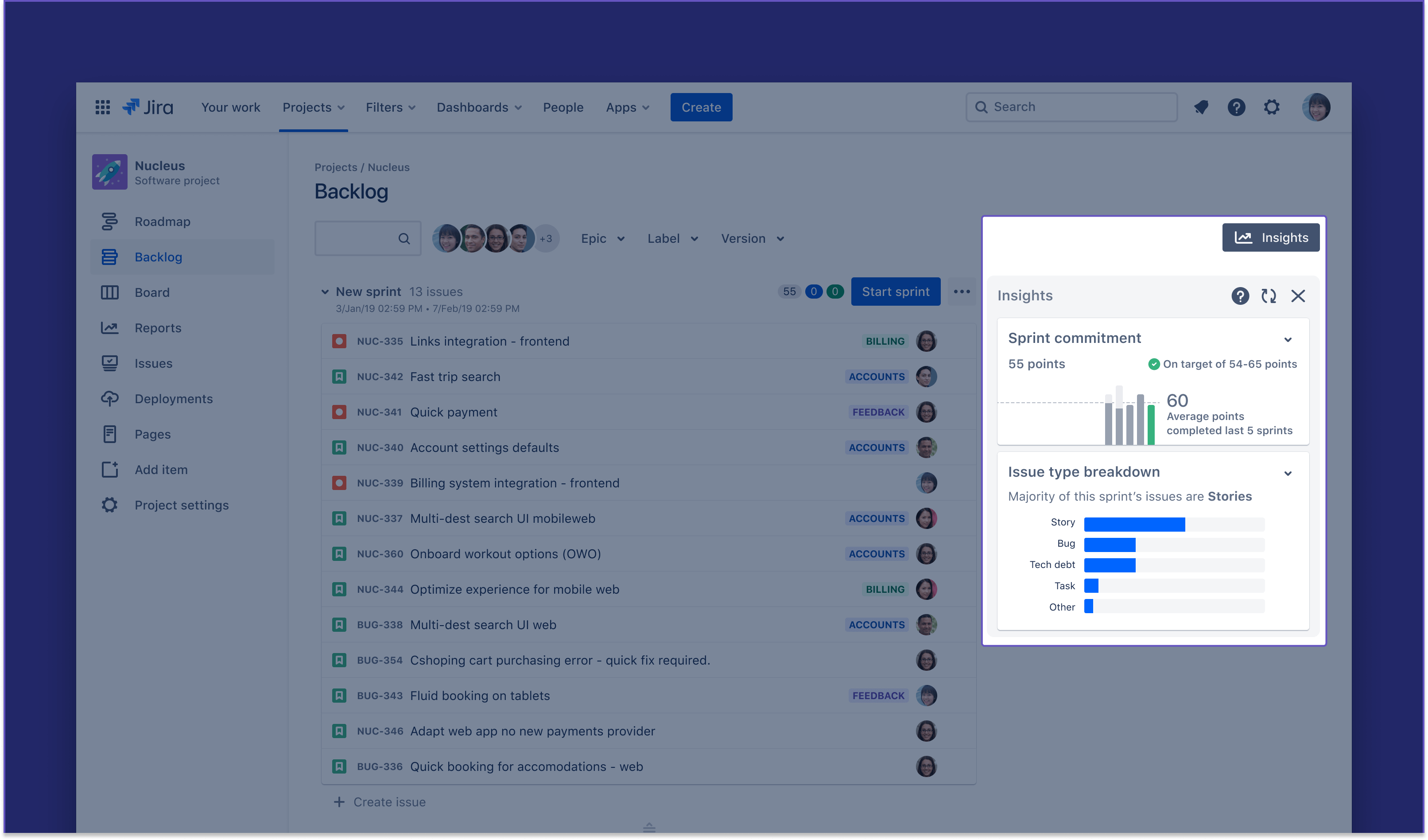 Backlog panel highlight