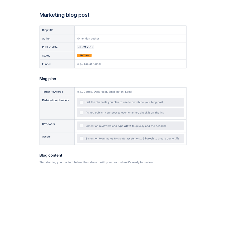 Marketing Blog Post template