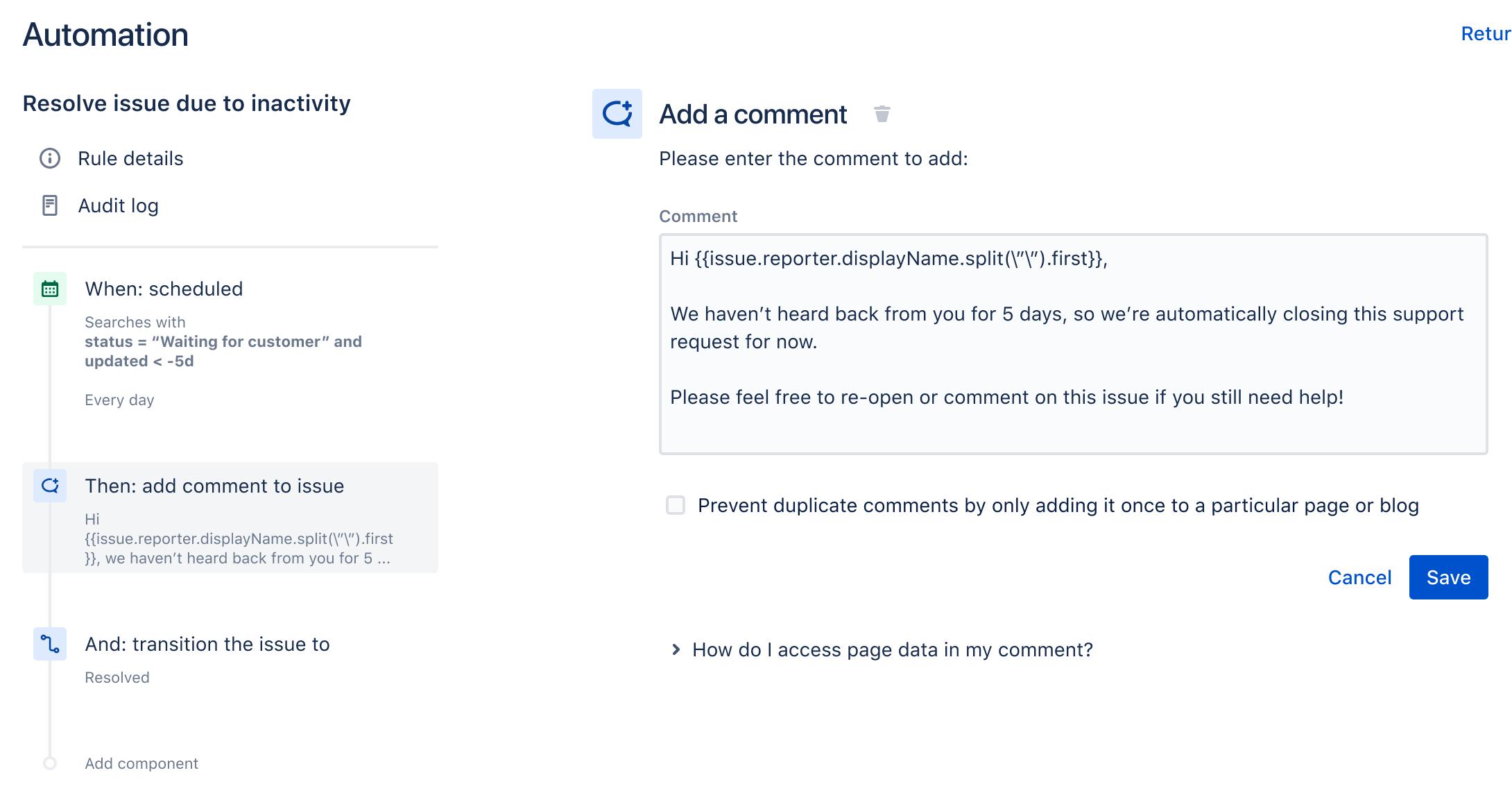 Un esempio del generatore di regole che mostra una regola per inviare automaticamente un promemoria ai clienti relativo ai ticket temporaneamente chiusi.