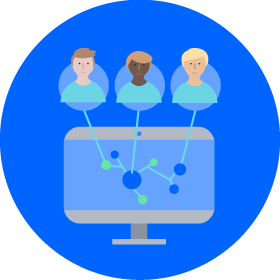 diagram of a network of people contributing to a shared goal