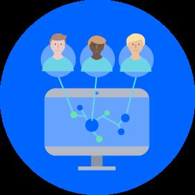 Schaubild mehrerer miteinander vernetzter Kollegen, die gemeinsam an einem Ziel arbeiten