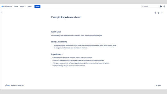 Example impediments board