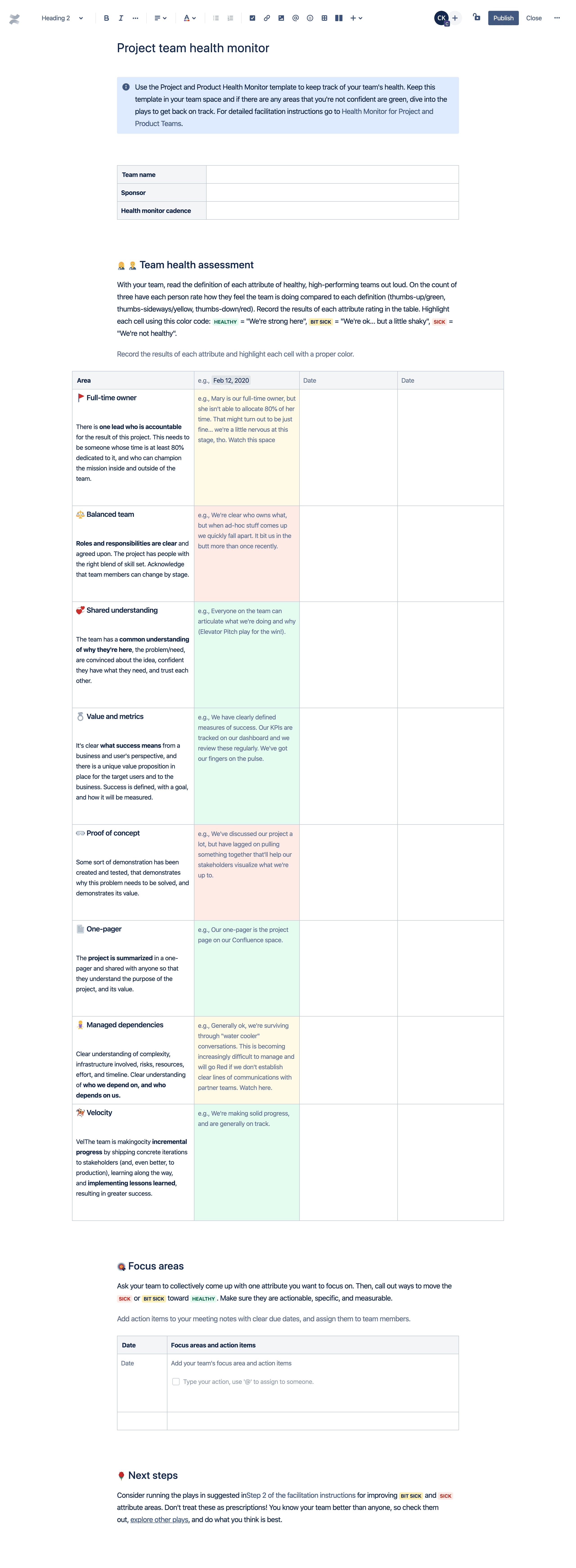 Project team health monitor template