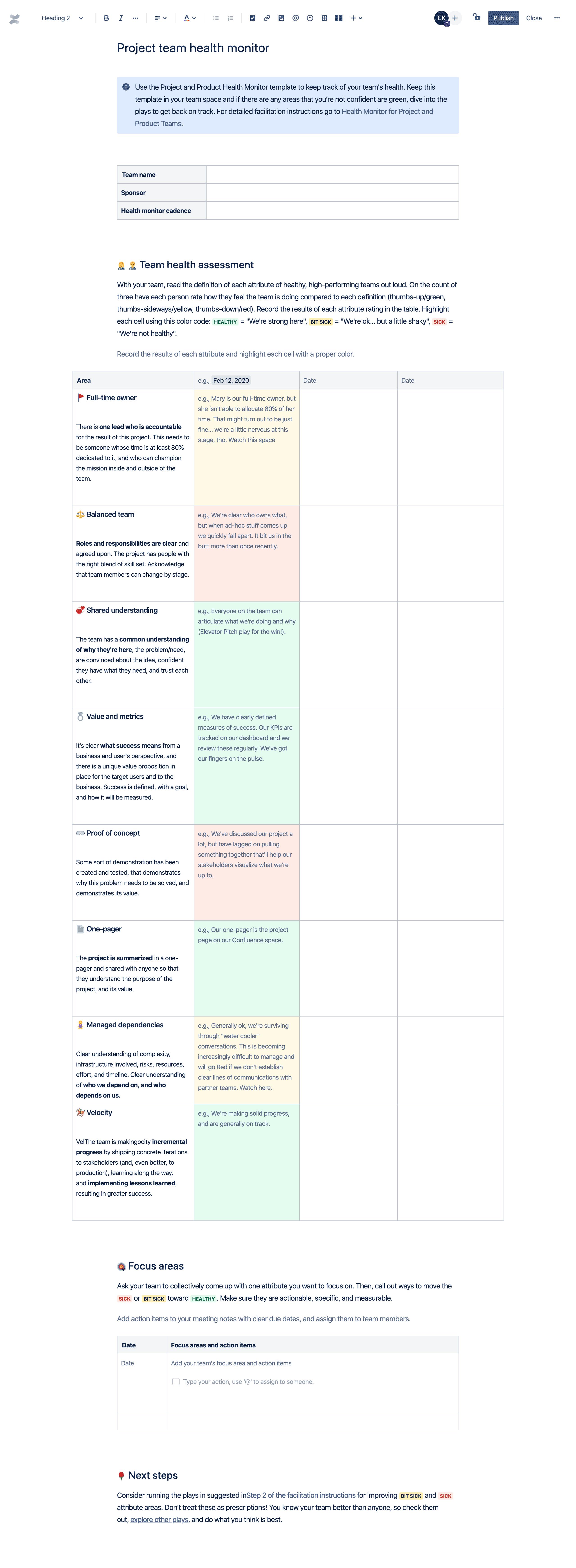 Modèle de contrôle de santé des équipes de projet