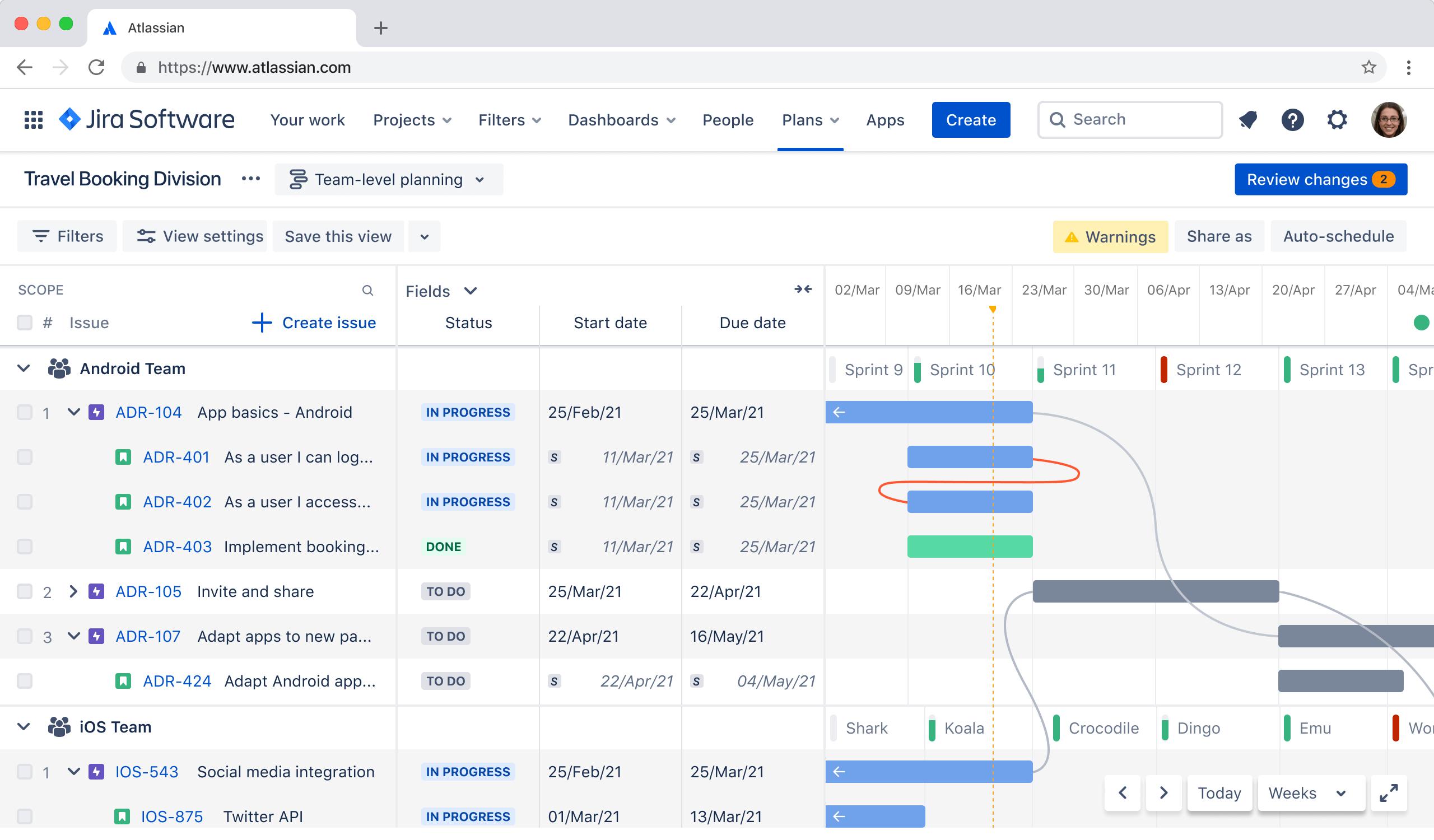 Screenshot di Advanced Roadmaps