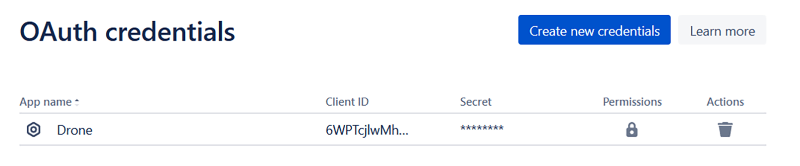 New Oauth credentials entry
