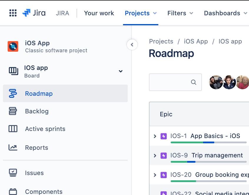 Onglet de la feuille de route JiraSoftware dans la barre latérale