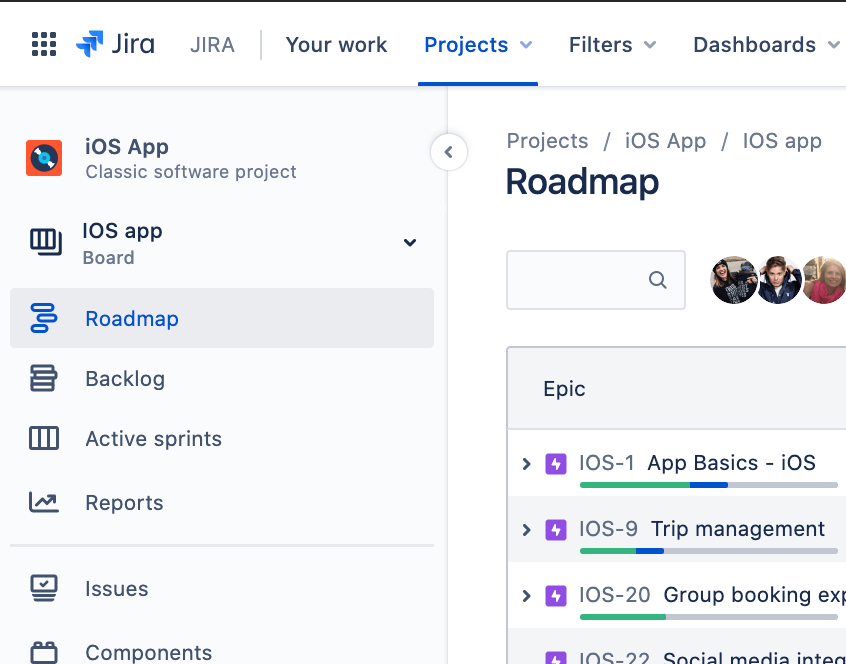 Pestaña Hoja de ruta en la barra lateral de Jira Software