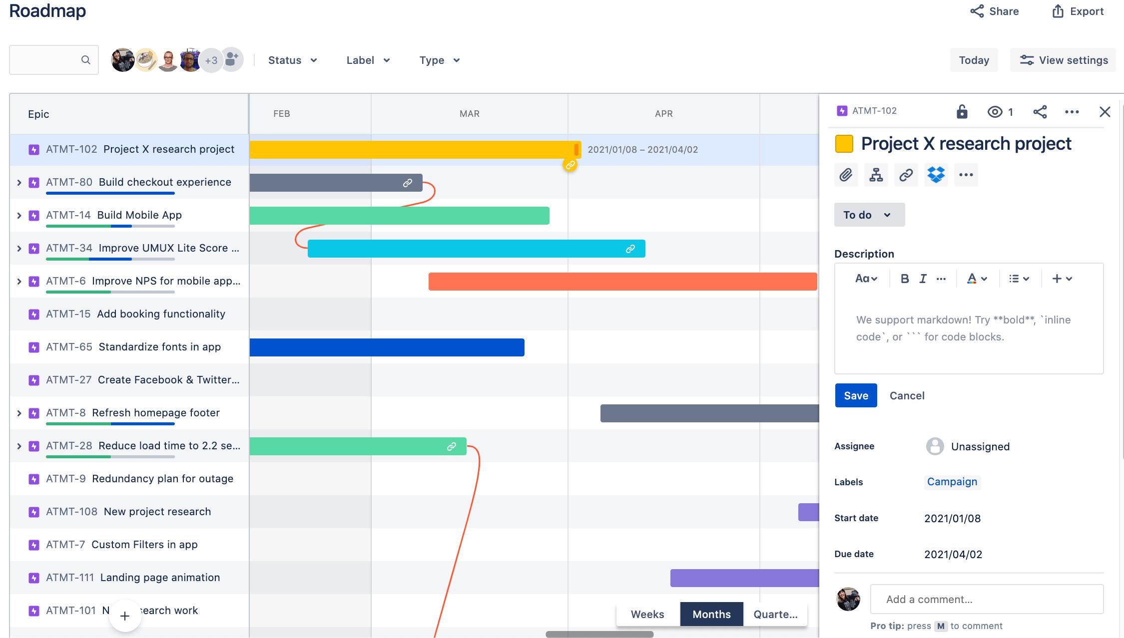 Daty rozpoczęcia i zakończenia epiku w Jira Software Basic Roadmaps