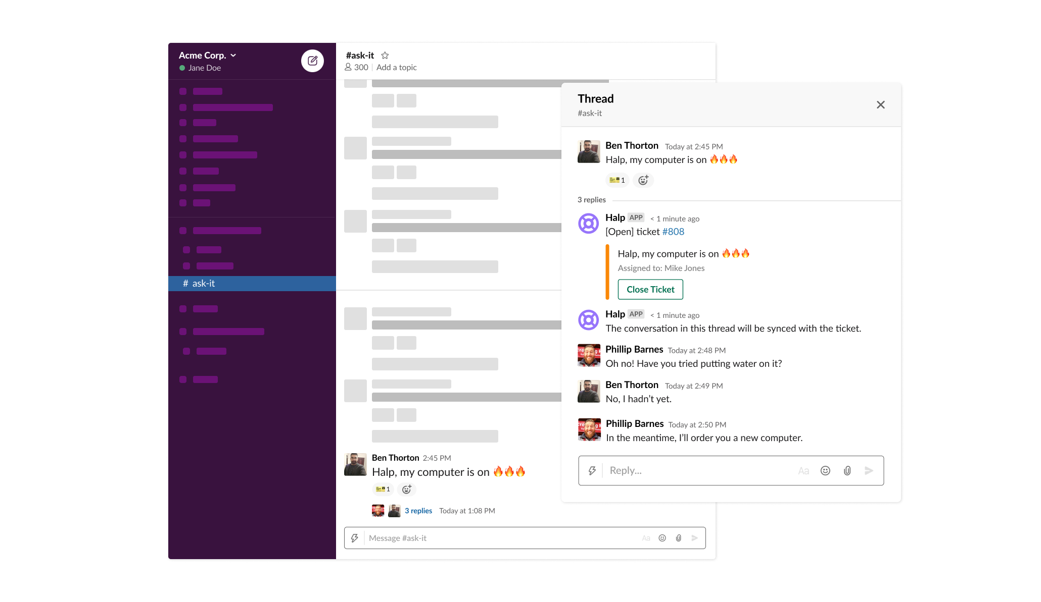 Halp integration in Slack