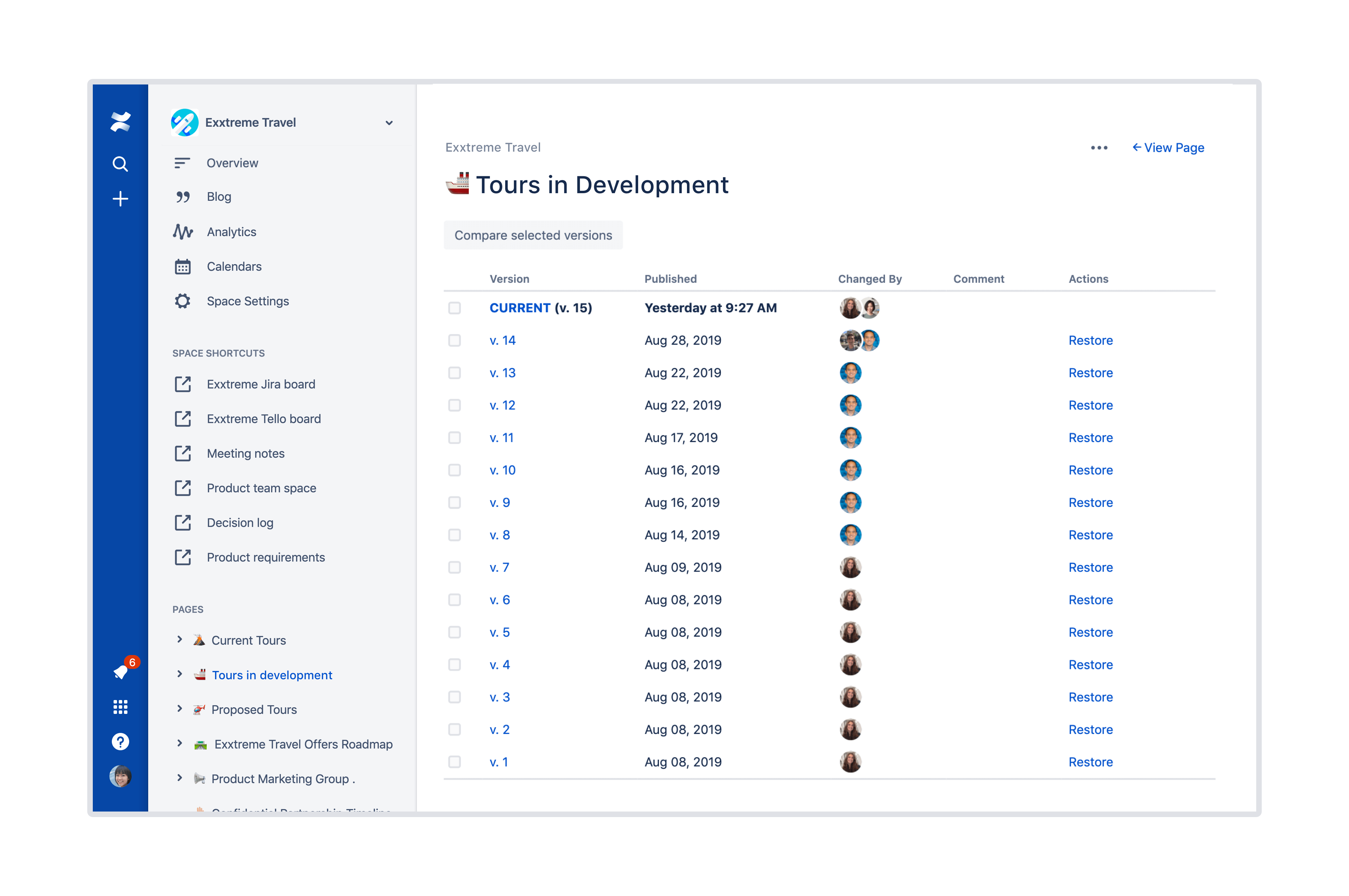 Structured page tree