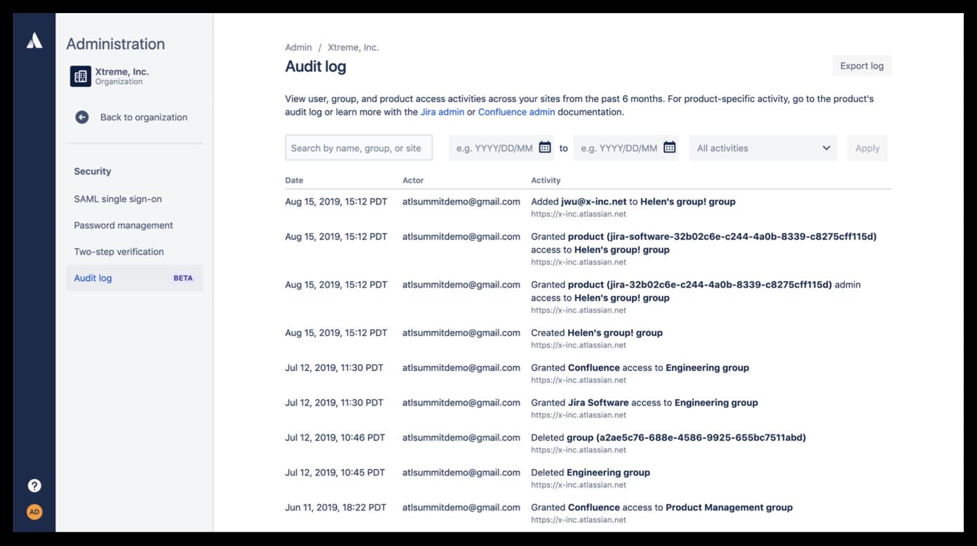 Screenshot auditlog van organisatie