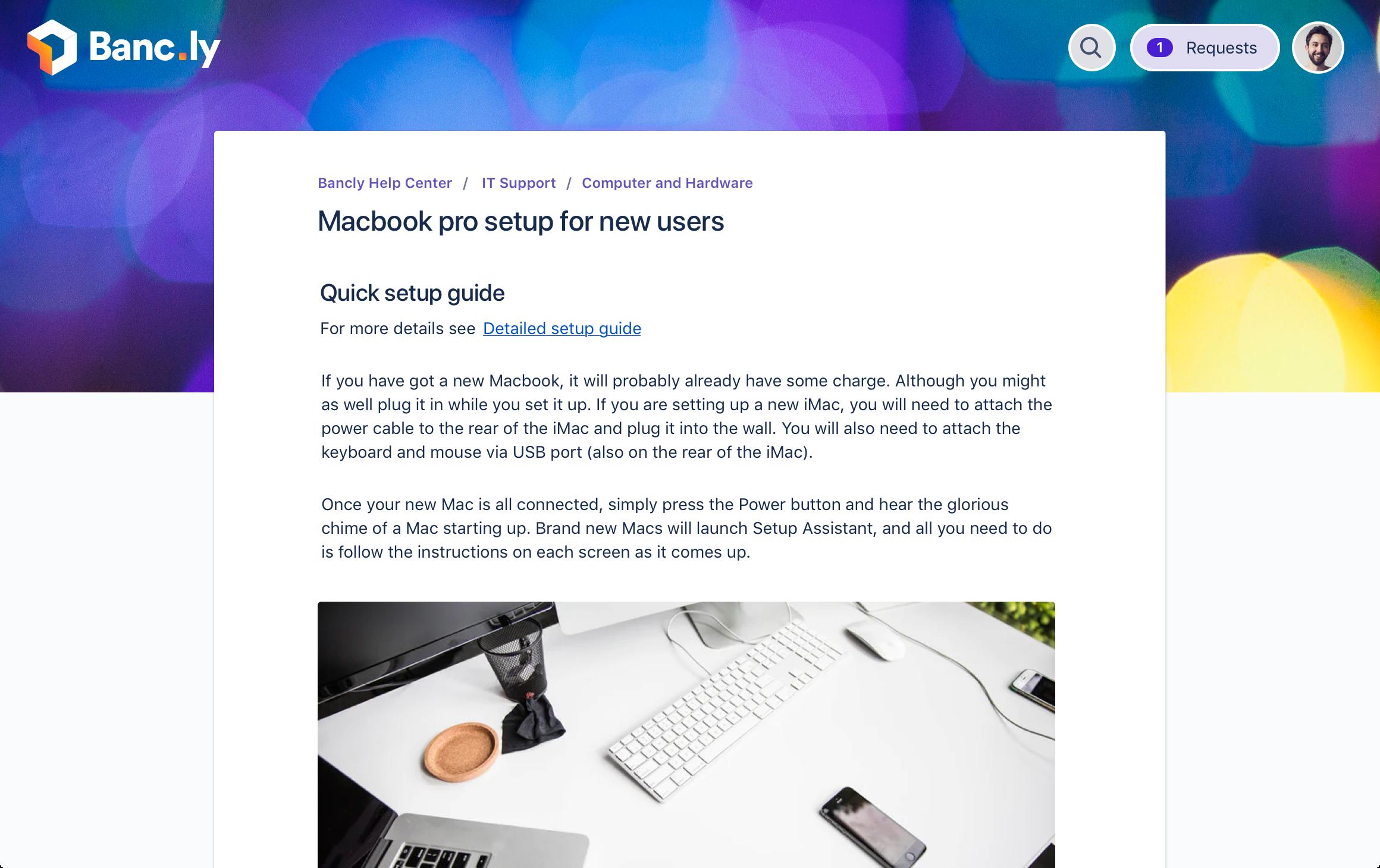 Screenshot of a set up guide