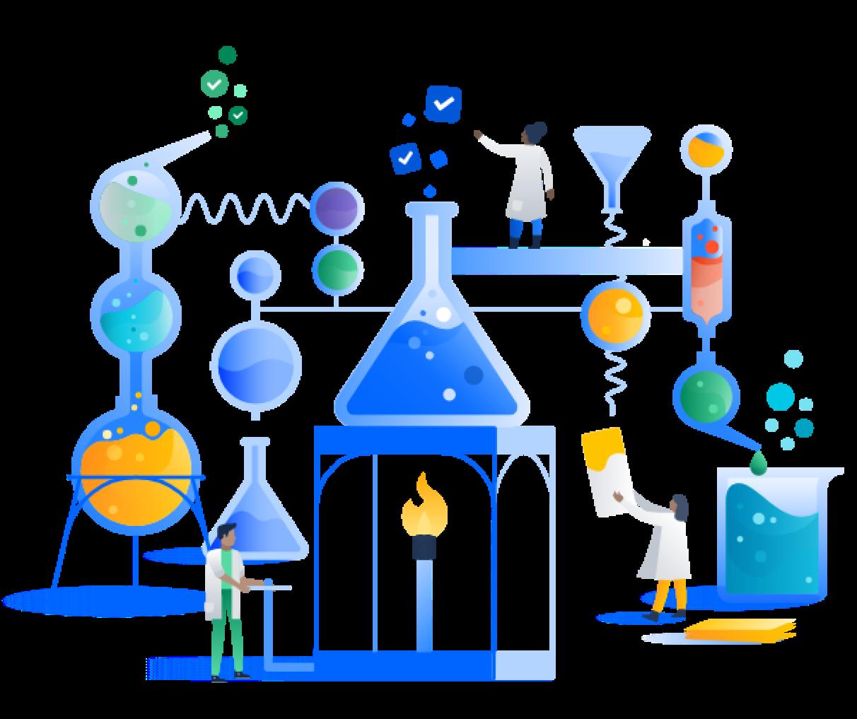 Personagens fazendo um experimento